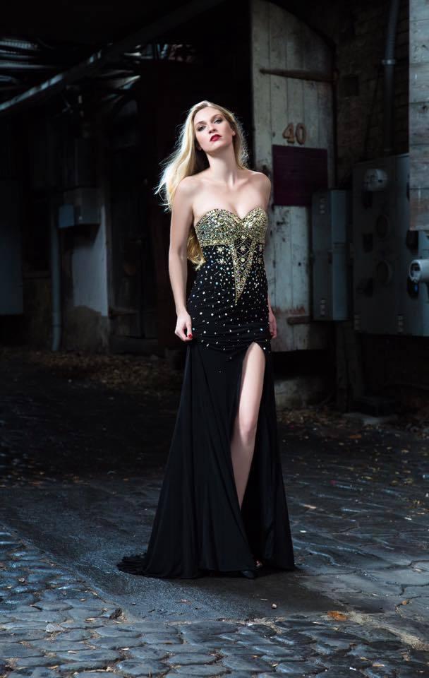 Black Deluxe, Floor length hand beaded Gown