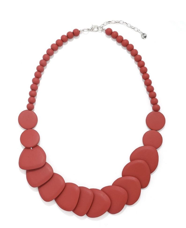 Alana large flat irregular shape  wooded  necklace  Red