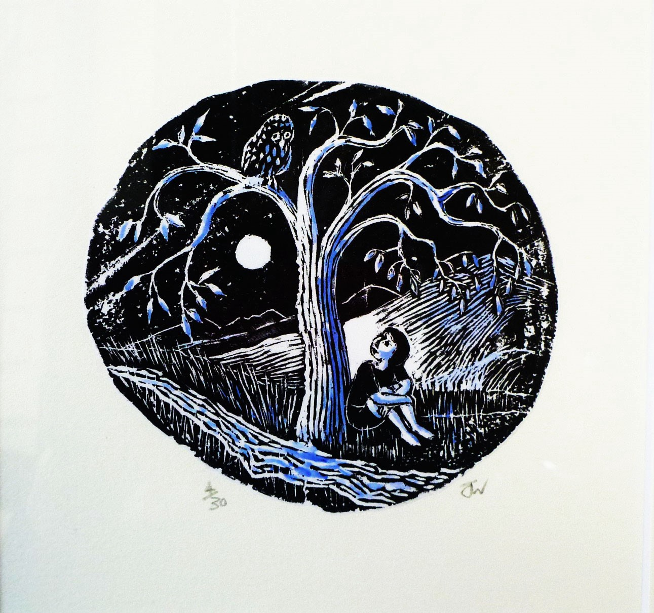 Under the Linden Tree - hand coloured wood engraving