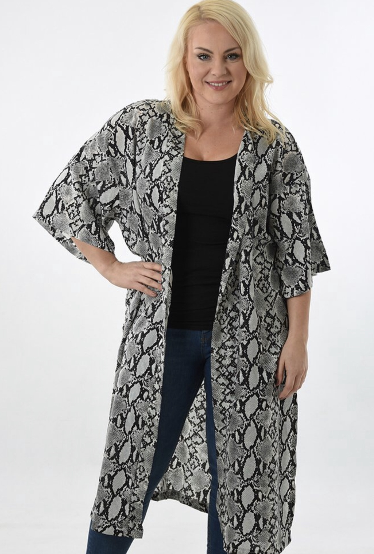 Light grey snake print long kimono