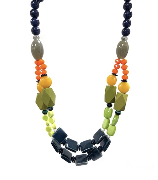 Green & Navy Bead Statement Necklace