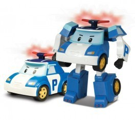 POLI TRANSFORMING ROBOT WITH LIGHTING BLUE