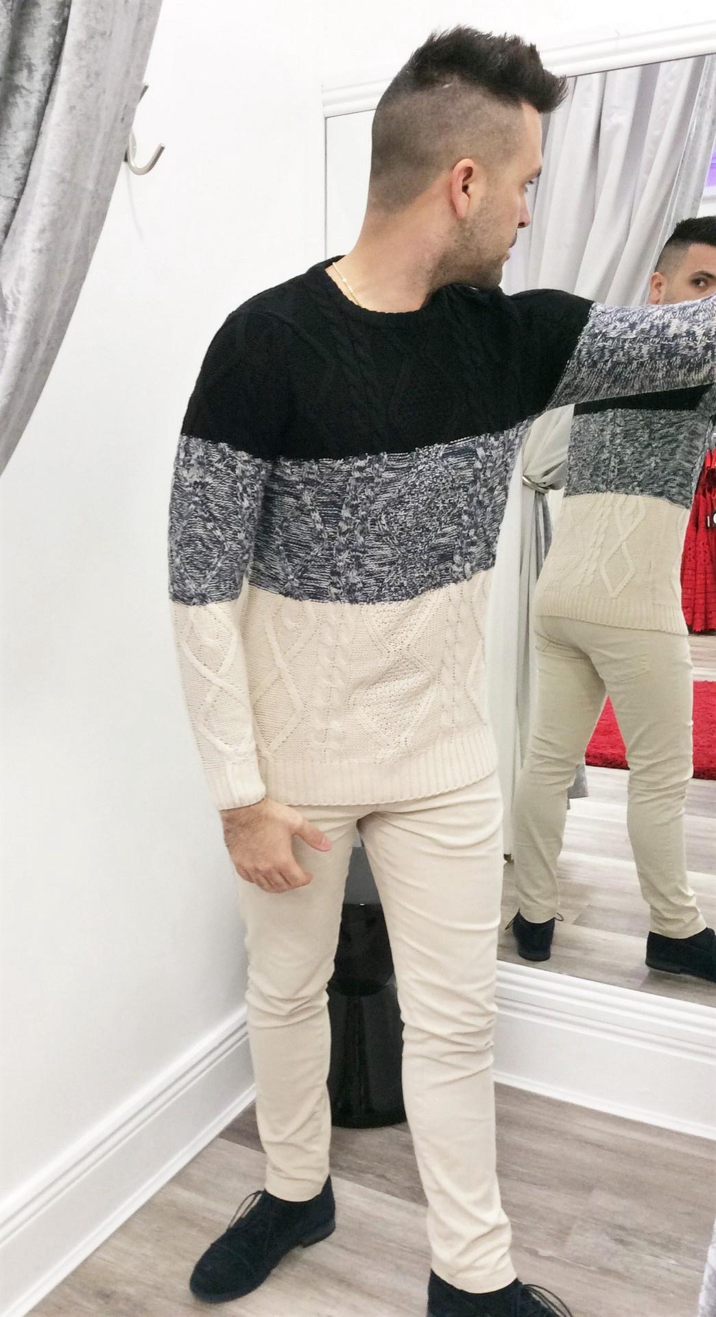 Menswear Block Color Cable Sweater