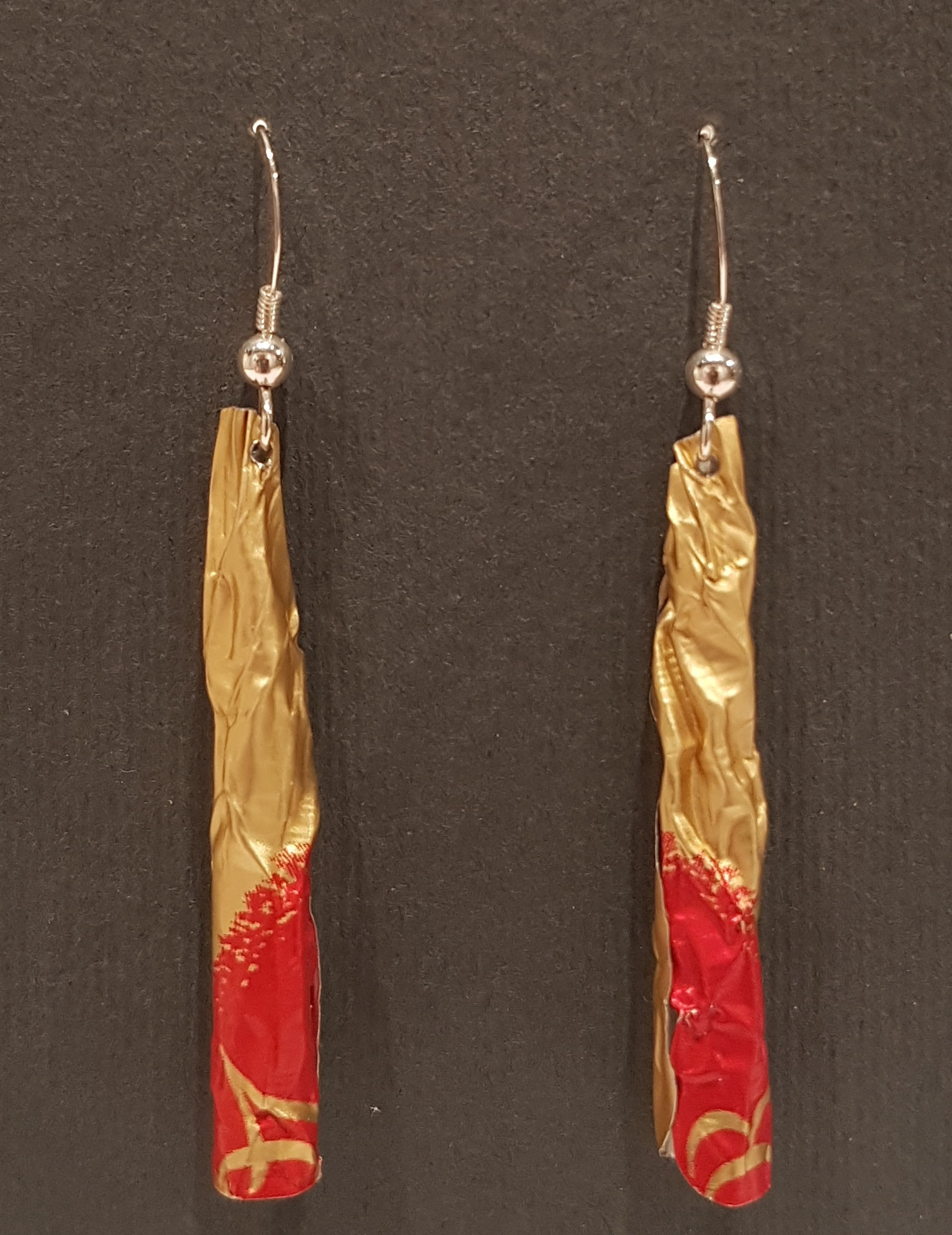 Red and Gold Anodized aluminium earrings