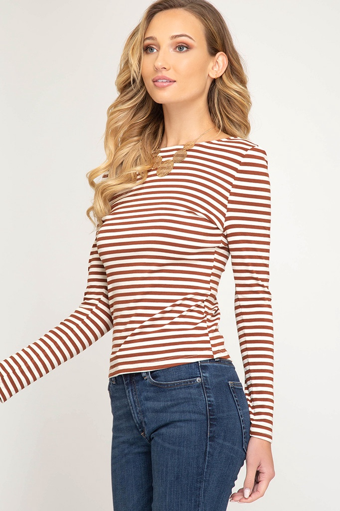 L/S Stripe Knit Top w Back Scoop