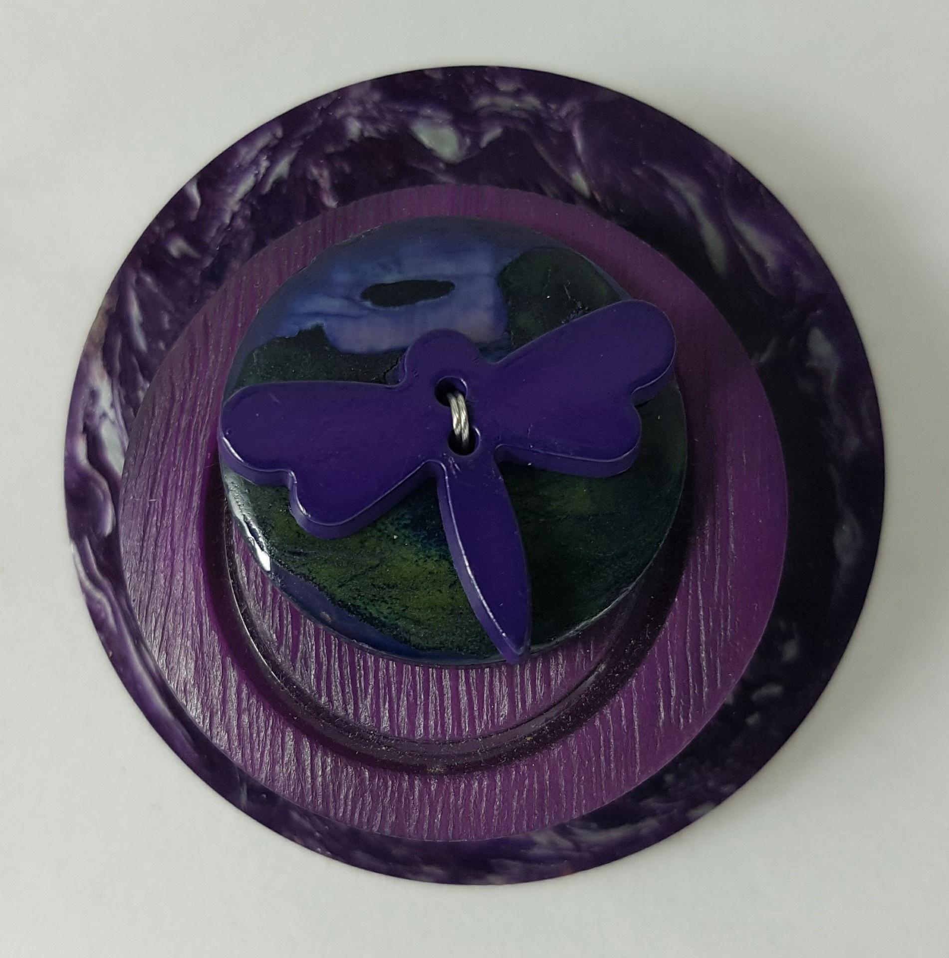 Purple Dragonfly button brooch