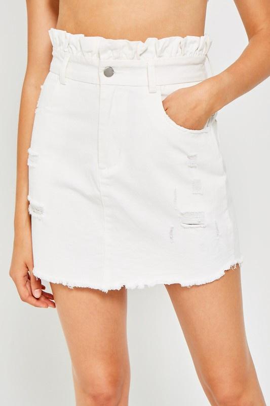 White Denim Skirt w Ruffle Waist
