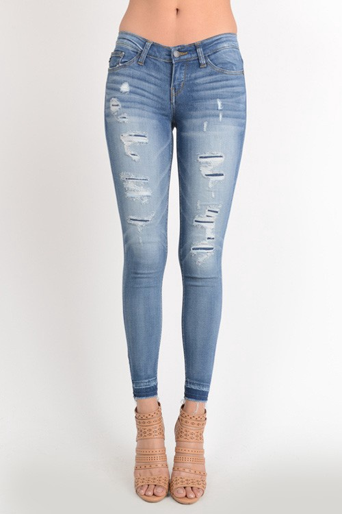 Judy Blue Skinny Jeans w Open Hem n Distressing Patches