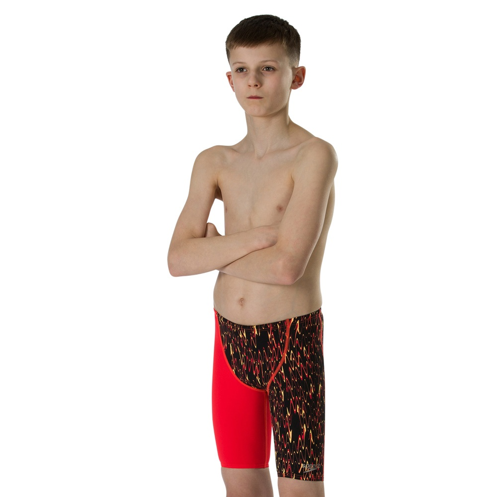 Boys Endurance+ High Waisted Jammer Black/Lava Red/Papaya Punch
