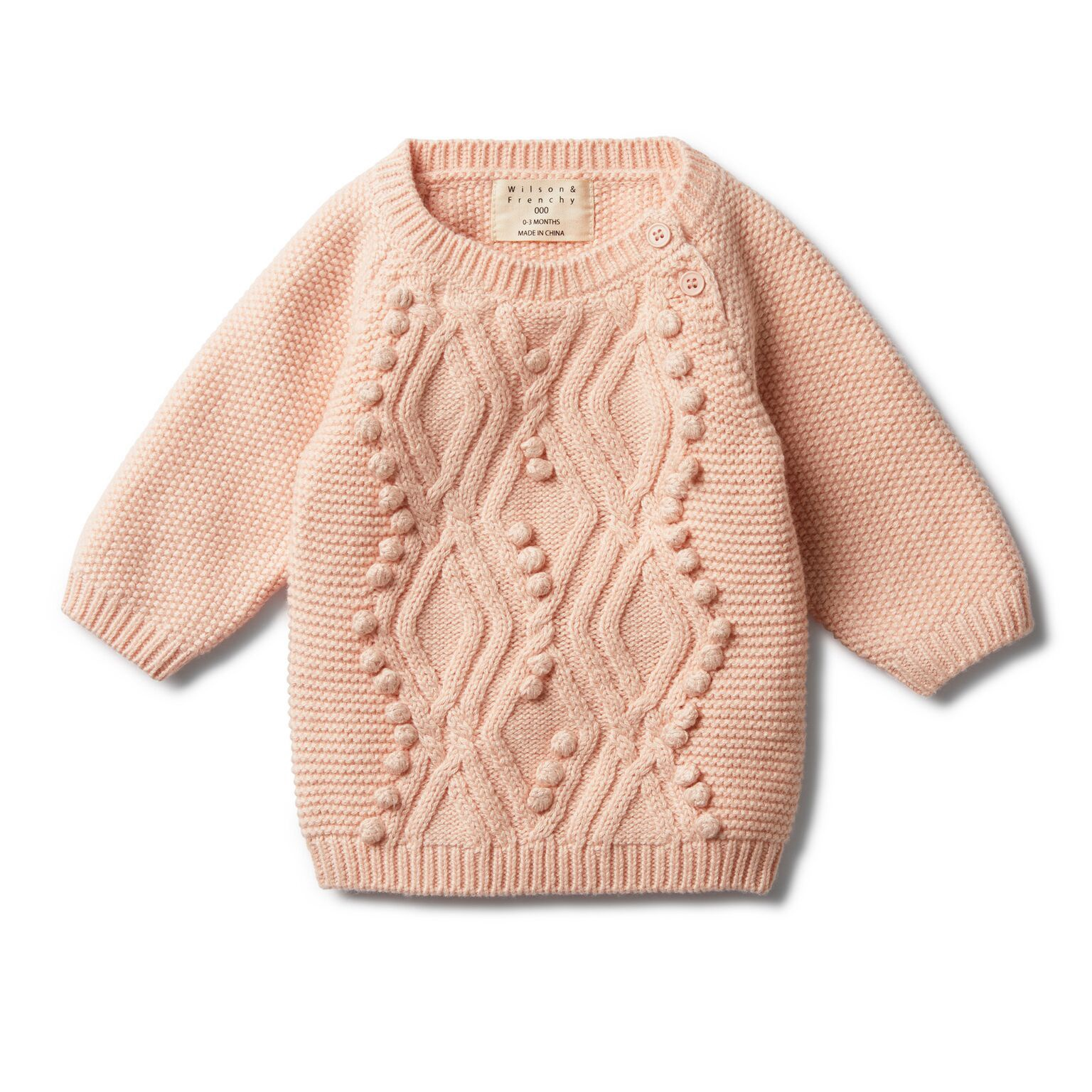 WF Peachy pink cable knitted pom pom jumper