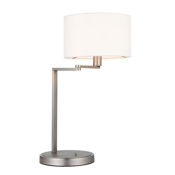 Daley swing arm table 40W SW - matt nickel vintage white faux silk