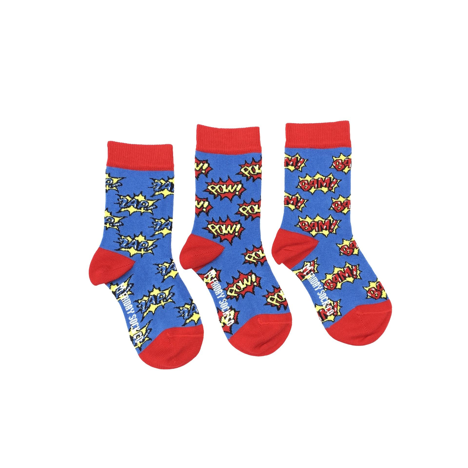 Kid's Zap, Pow, Bam Superhero Socks