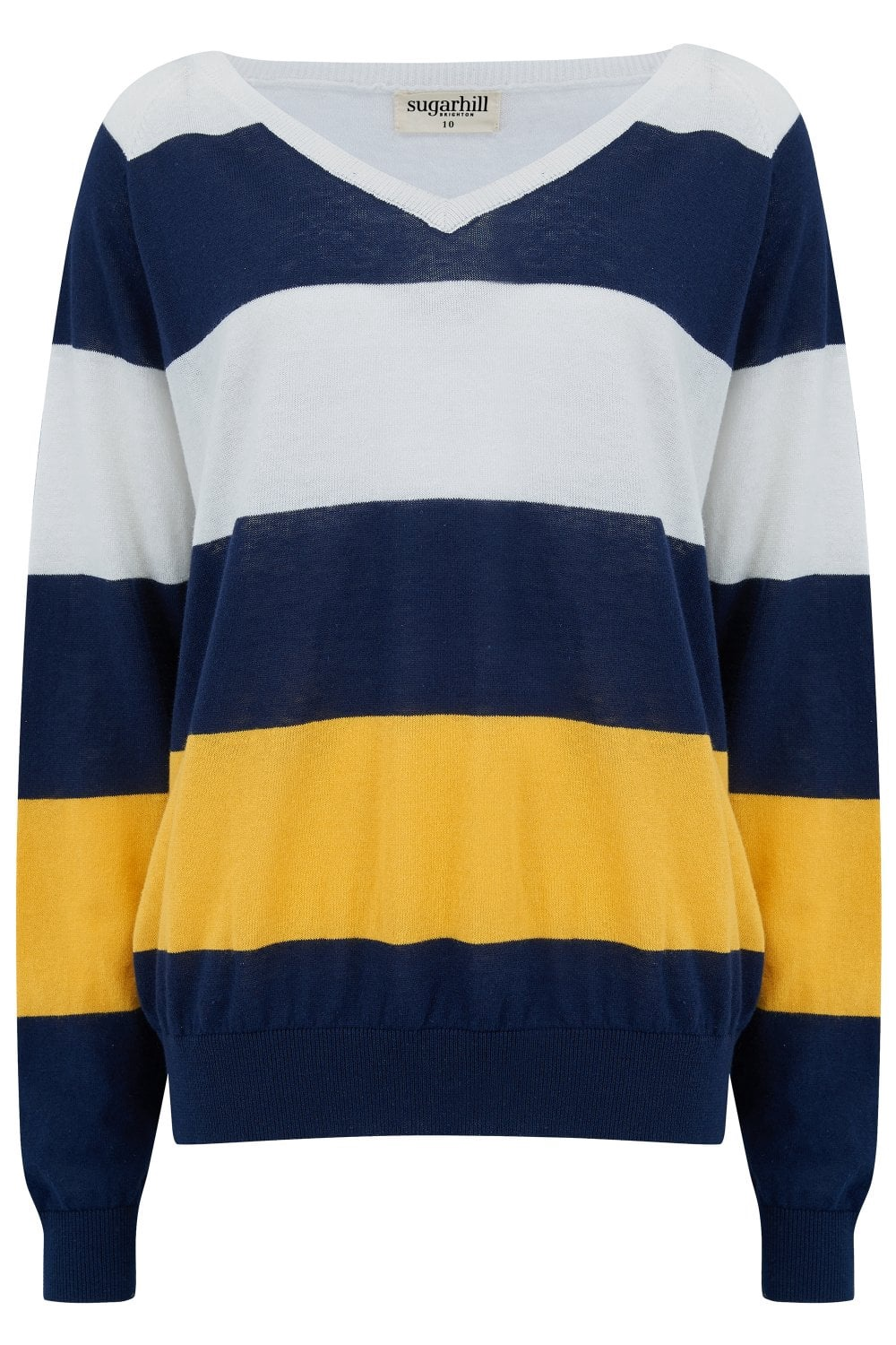 Teegan Block Stripe V-Neck Sweater