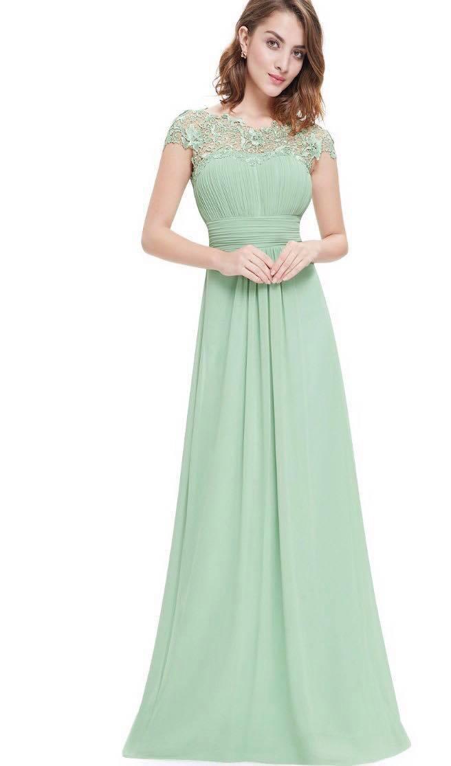 Mint green lace bridesmaids dress