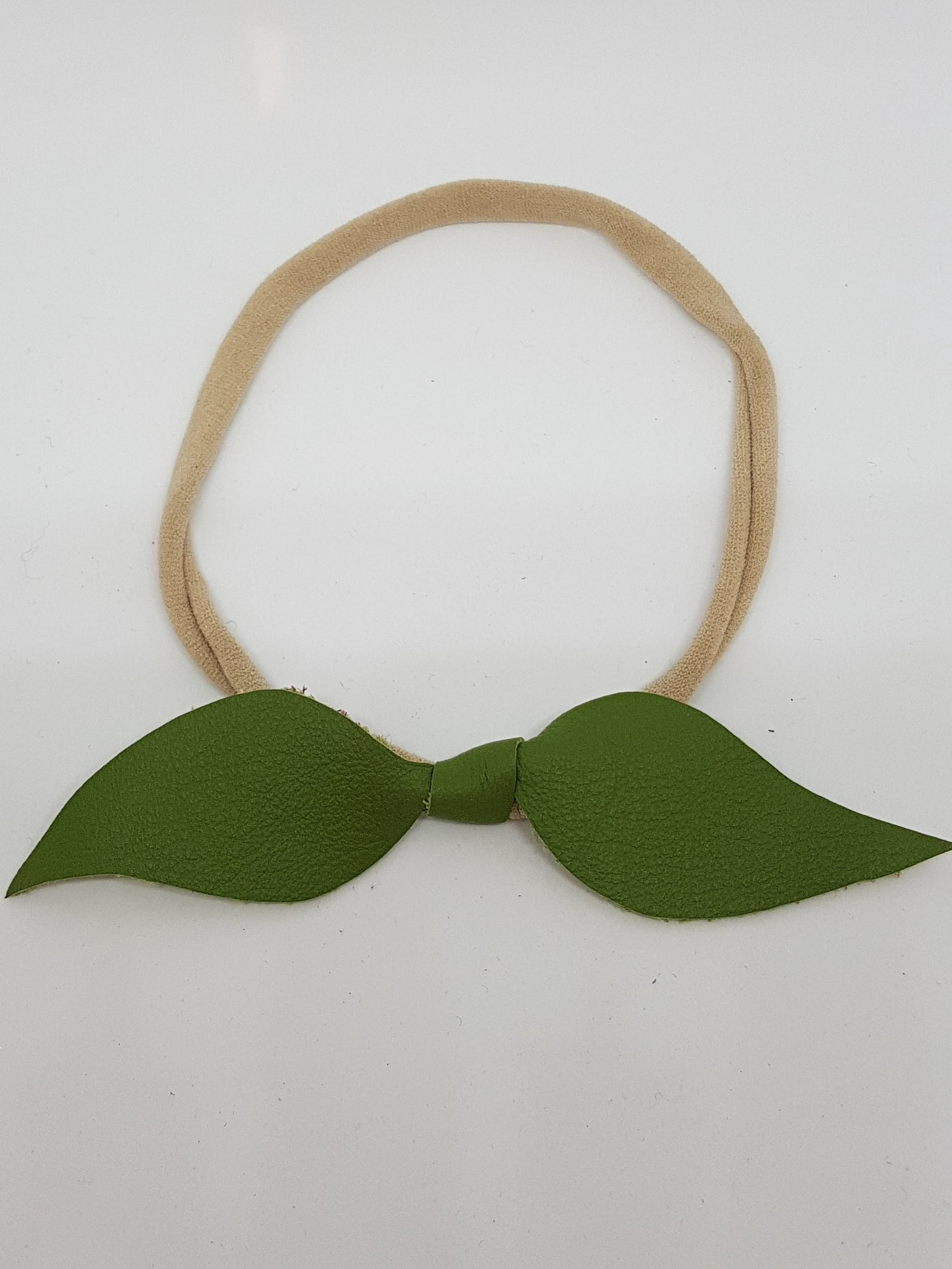 Leather Leafy Headbands - fits newborn to adult