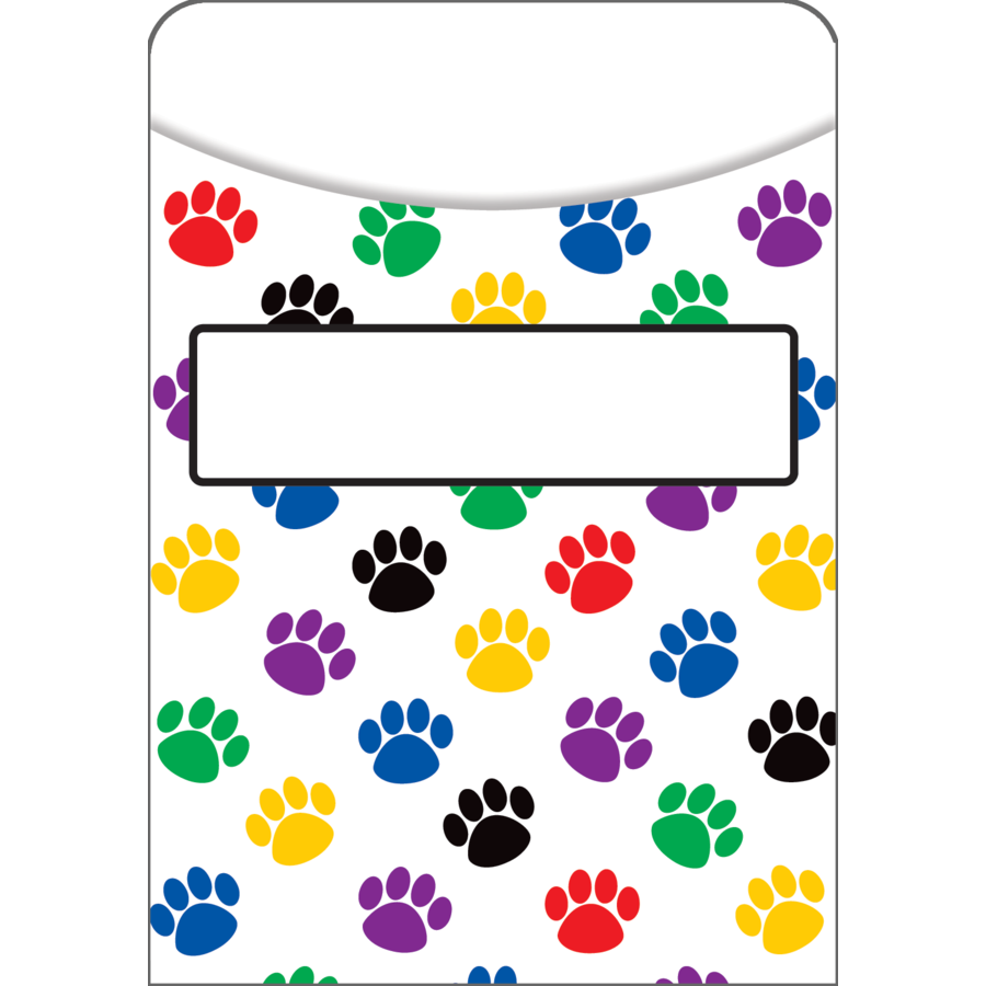 TCR 5550 LIBRARY POCKETS PAW PRINTS