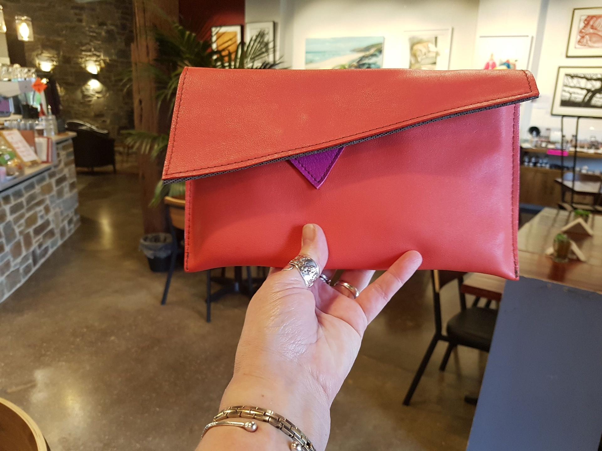 Orange Leather Clutch Bag