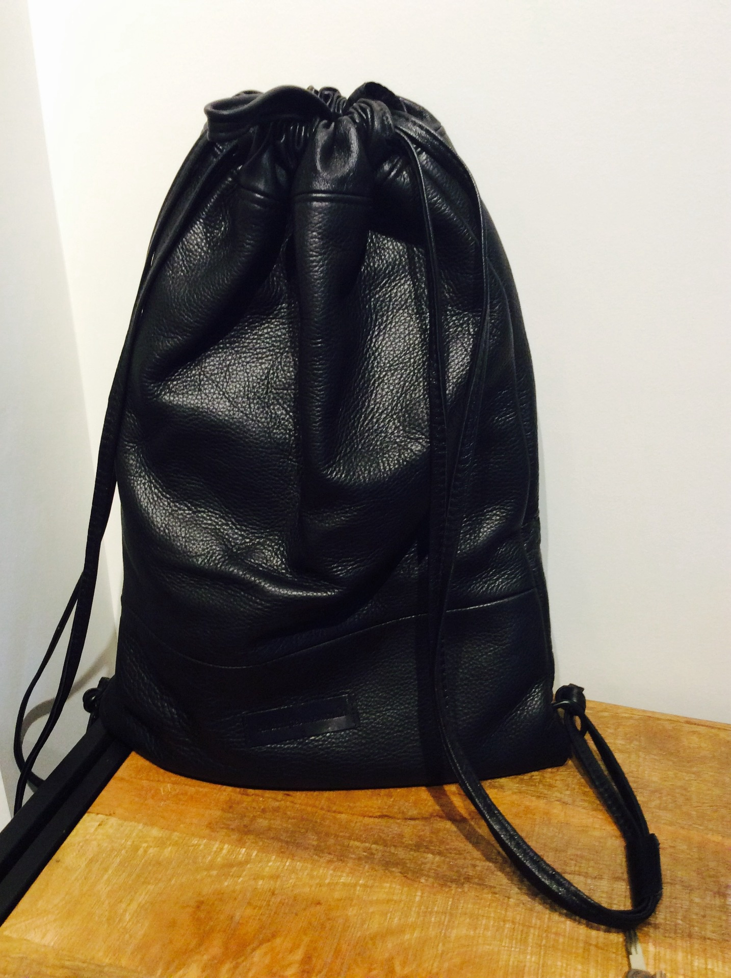 The 'Sack' - Black Italian Leather Backpack