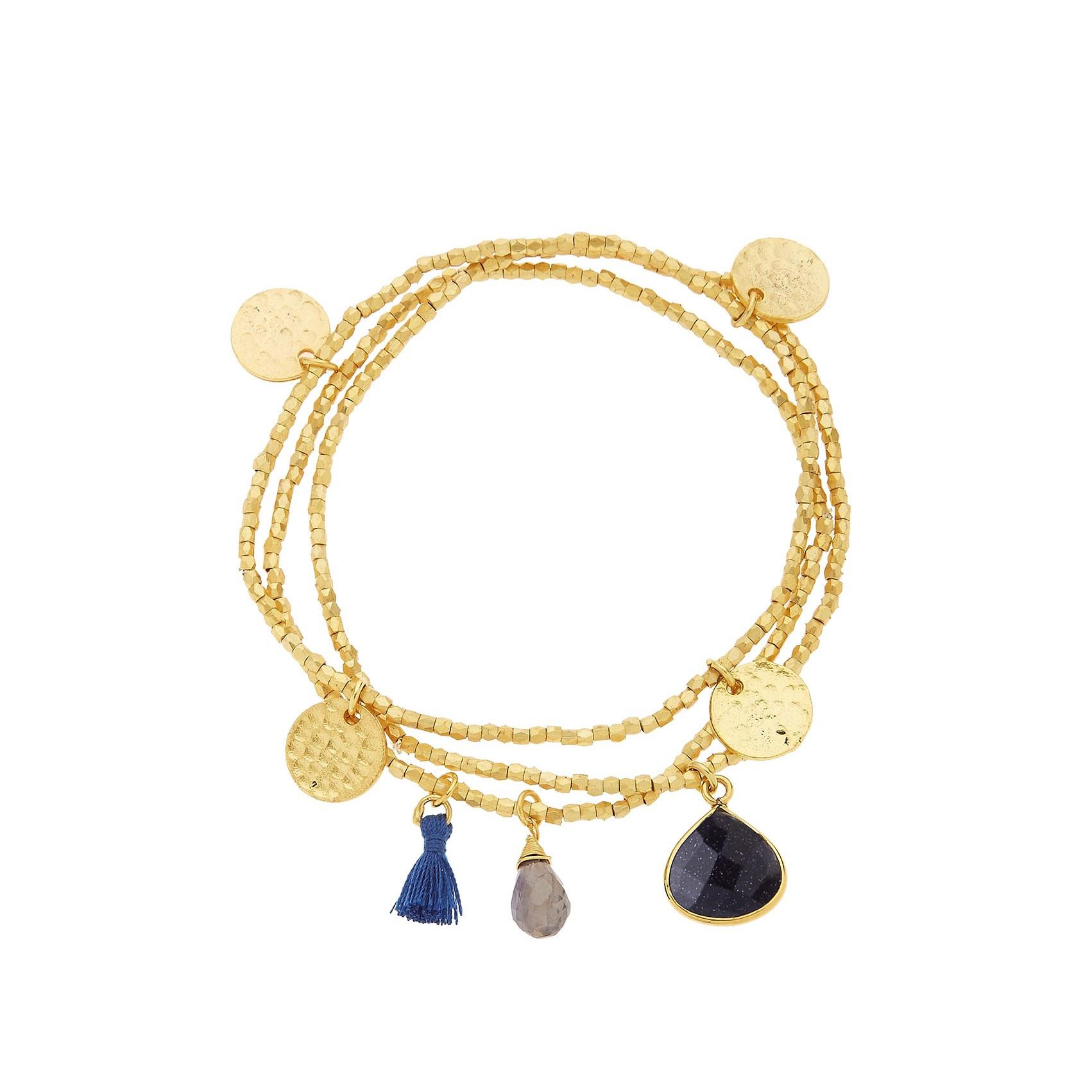 Gemini Gold Charm Bracelet Navy Sunstone Gemstones by Ashiana London