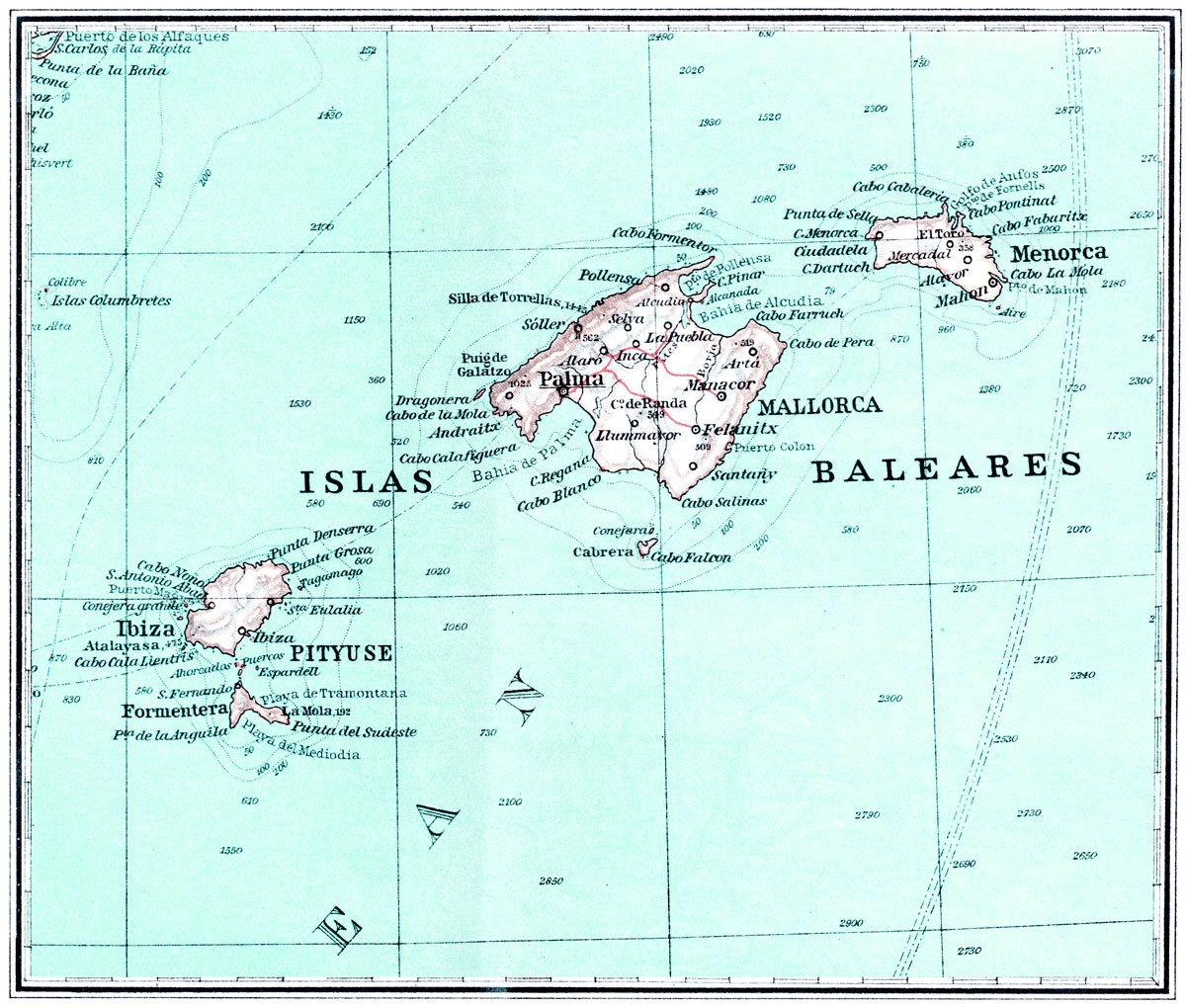 Balearic Islands Map | Print Only