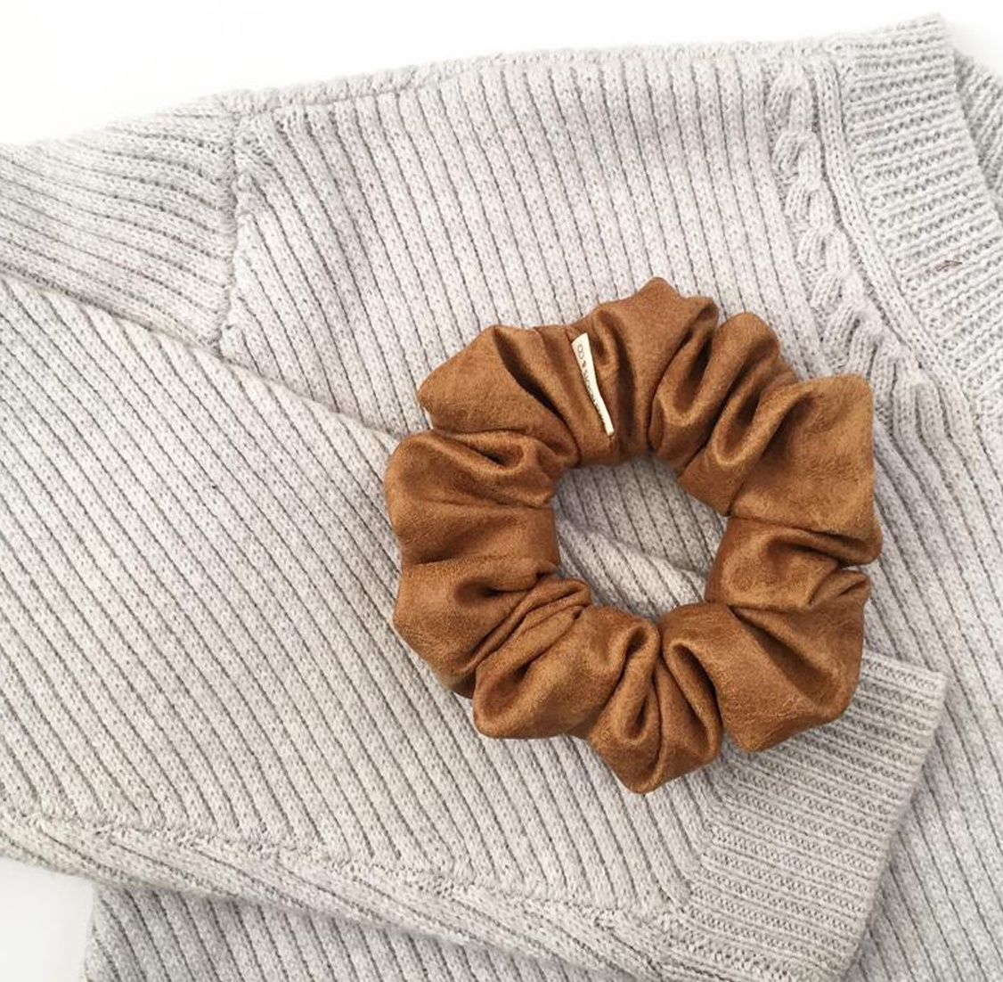 Soft Brown Vegan Leather Scrunchie