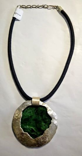 Burn out 999 pure silver and flower jade disc pendant 1-359