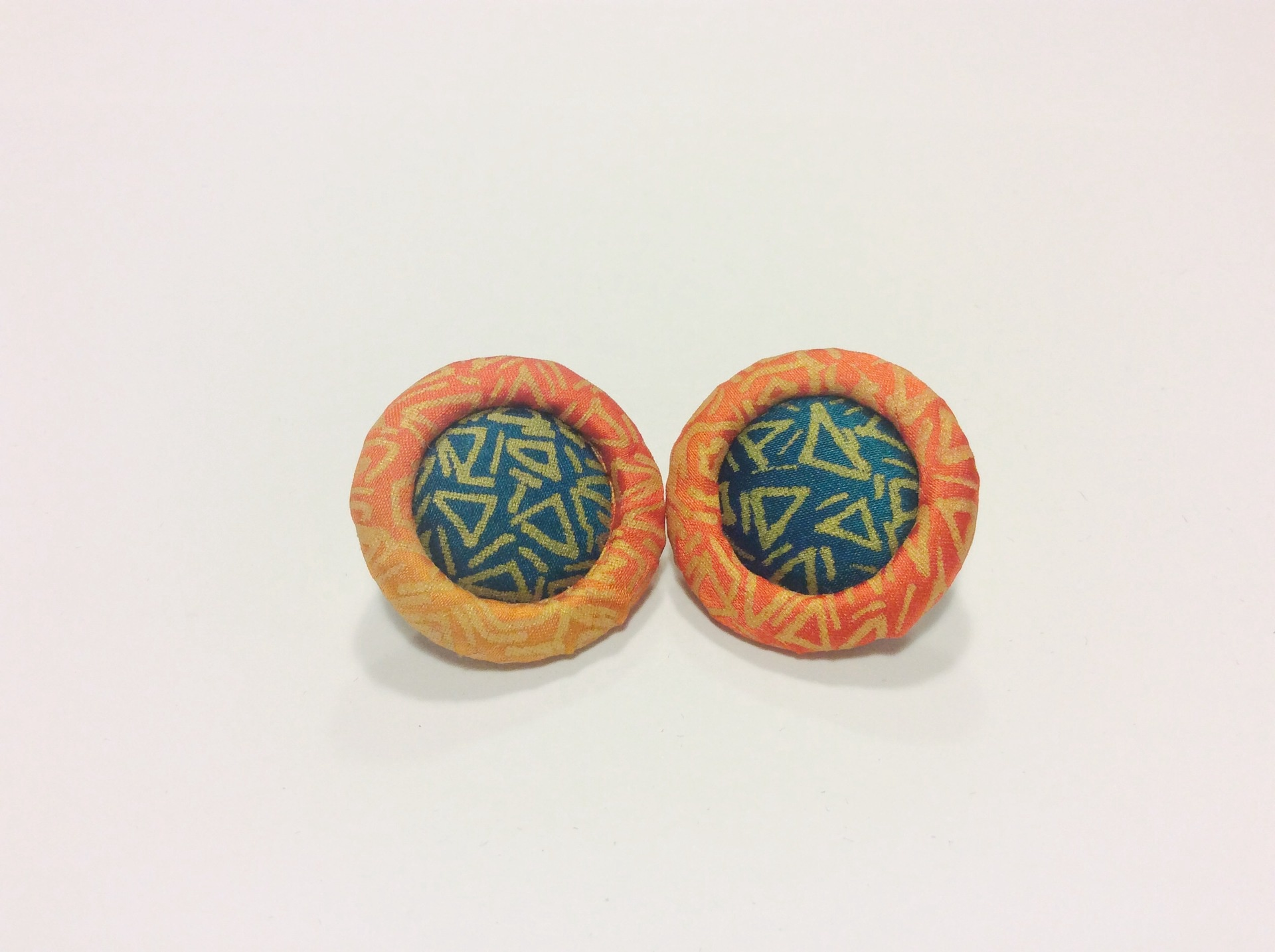Green, orange and gold hand painted round silk earrings