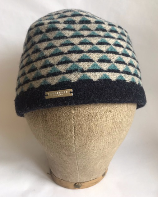 Seeberger Boiled Wool Toque with pattern Marine Blue