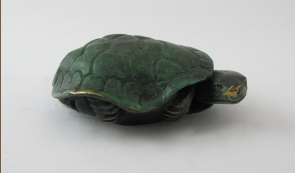 Turtle Peeping - miniature bronze