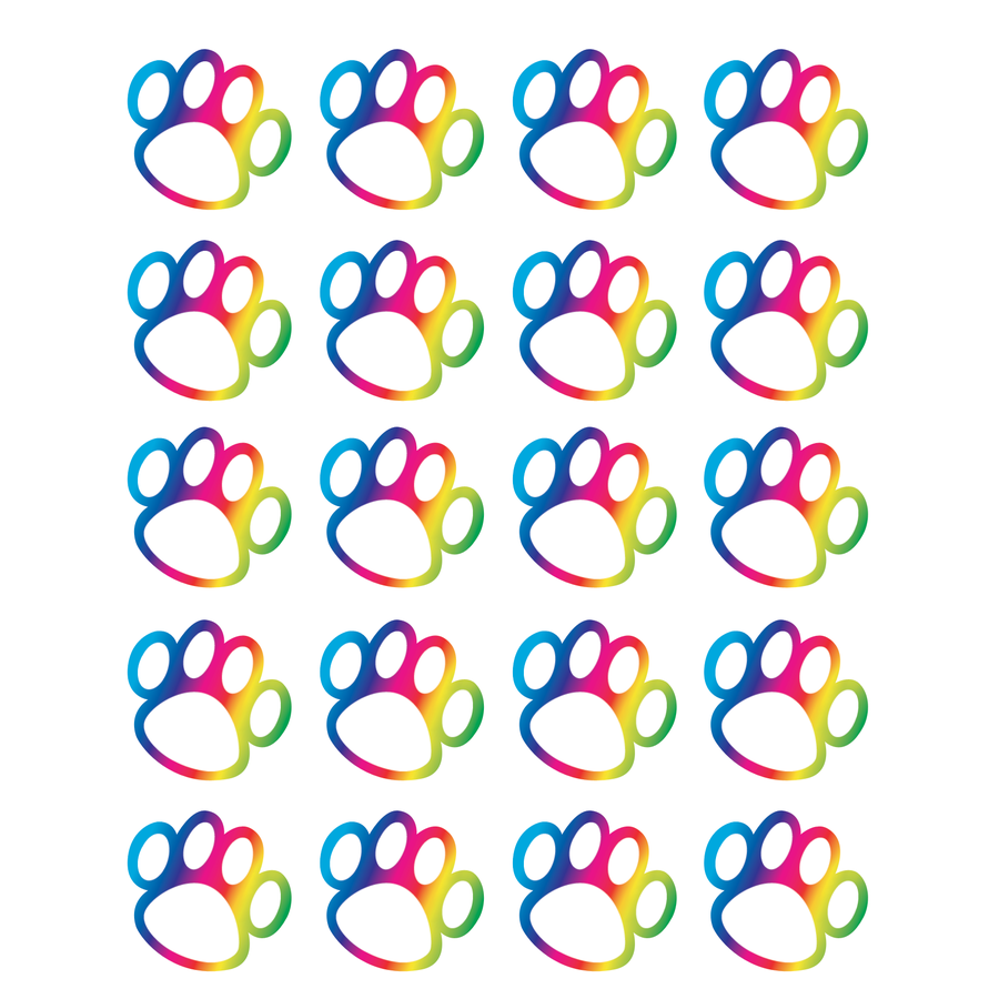 TCR 5392 RAINBOW PAW PRINT STICKERS