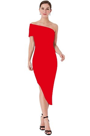Short Dress - Red One Shoulder Bodycon Asymmetric Midi Dress, NEW