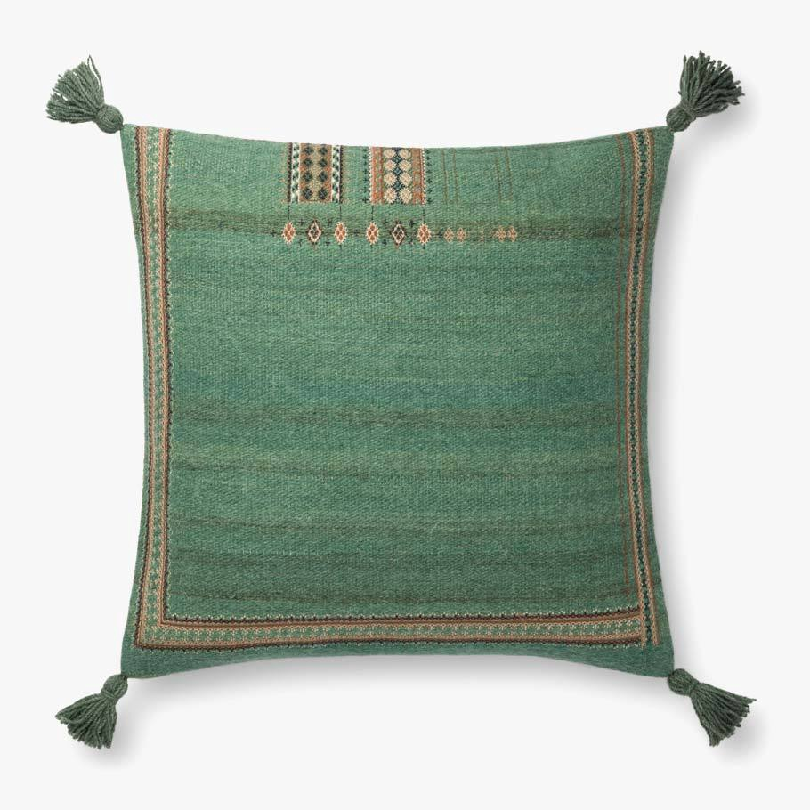 Green Boho Tassel Pillow