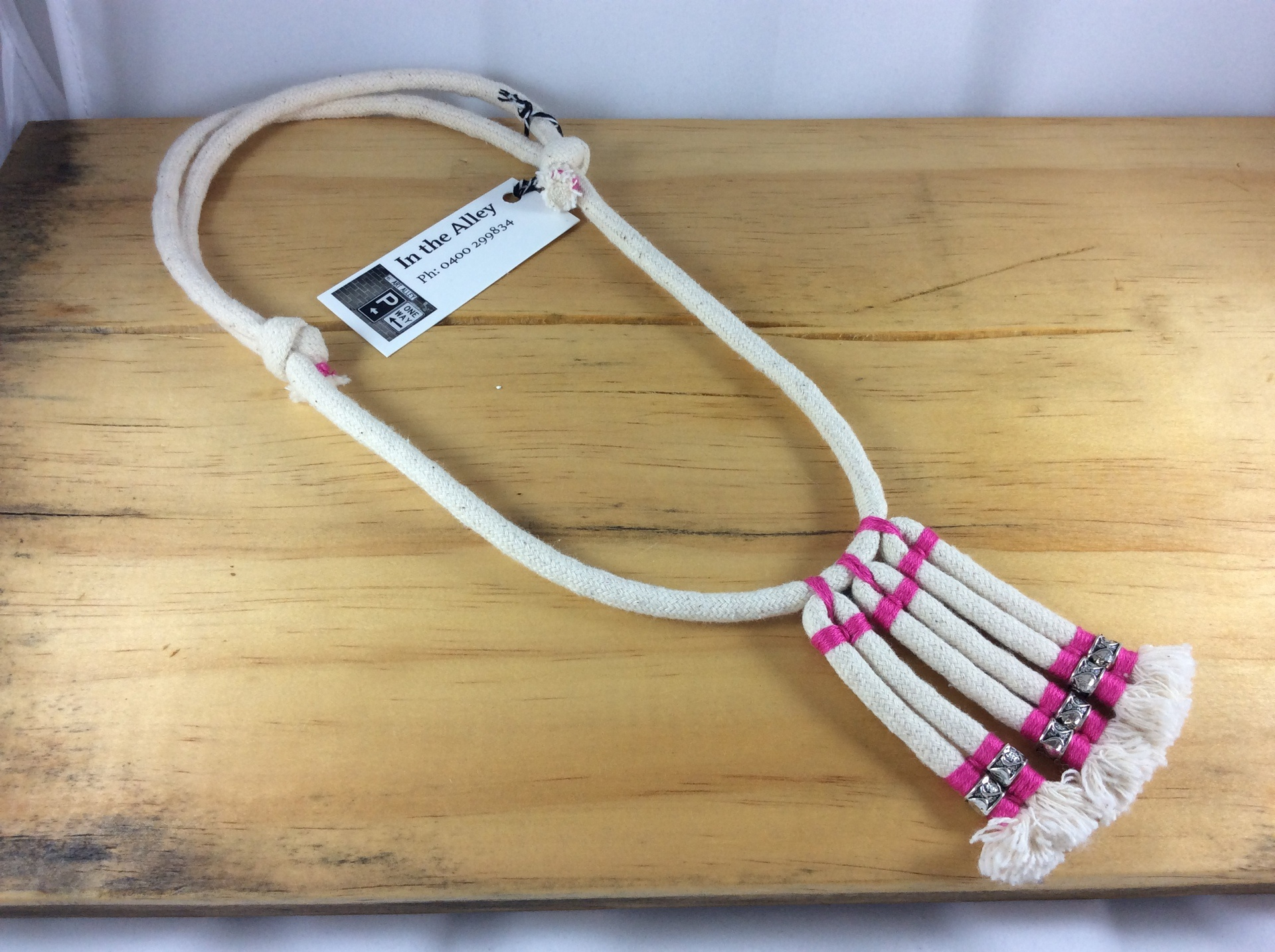 Syx Frayed Lines 'The Original' Frayed Cotton Necklace in Hot Pink