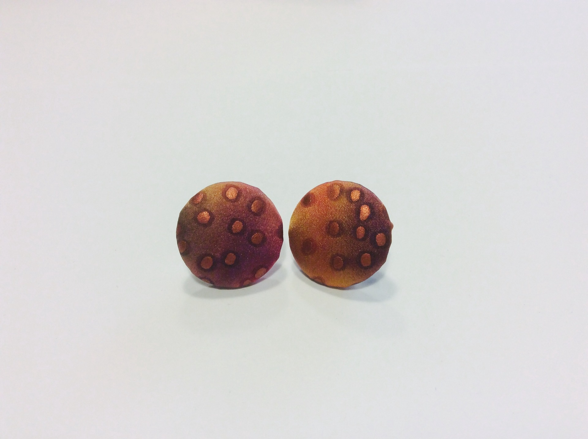 Hand painted silk round stud earrings