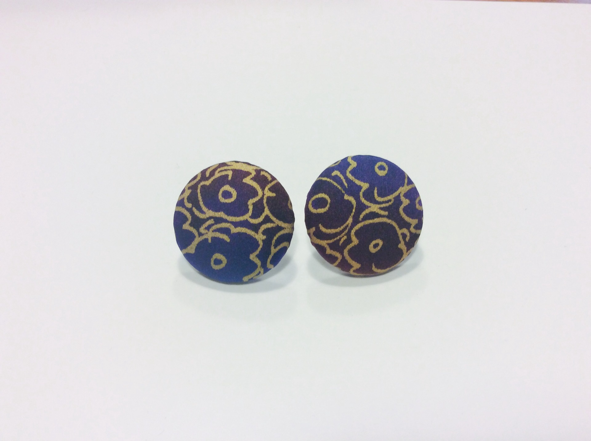 Purple and gold round hand painted silk stud earrings.