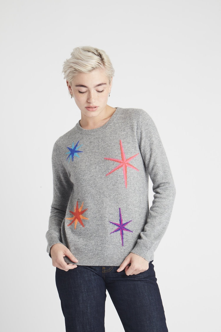 Multi Star Grey Cashmere Jumper by Jumper 1234