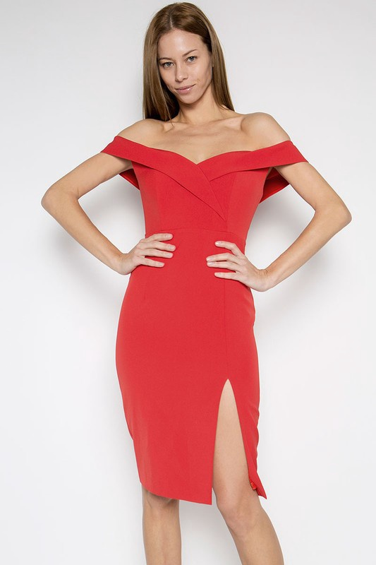 Red OTS Fitted Dress