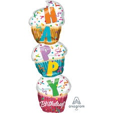 STACKED SUPCAKE SUPERSHAPE FOIL BALLOON