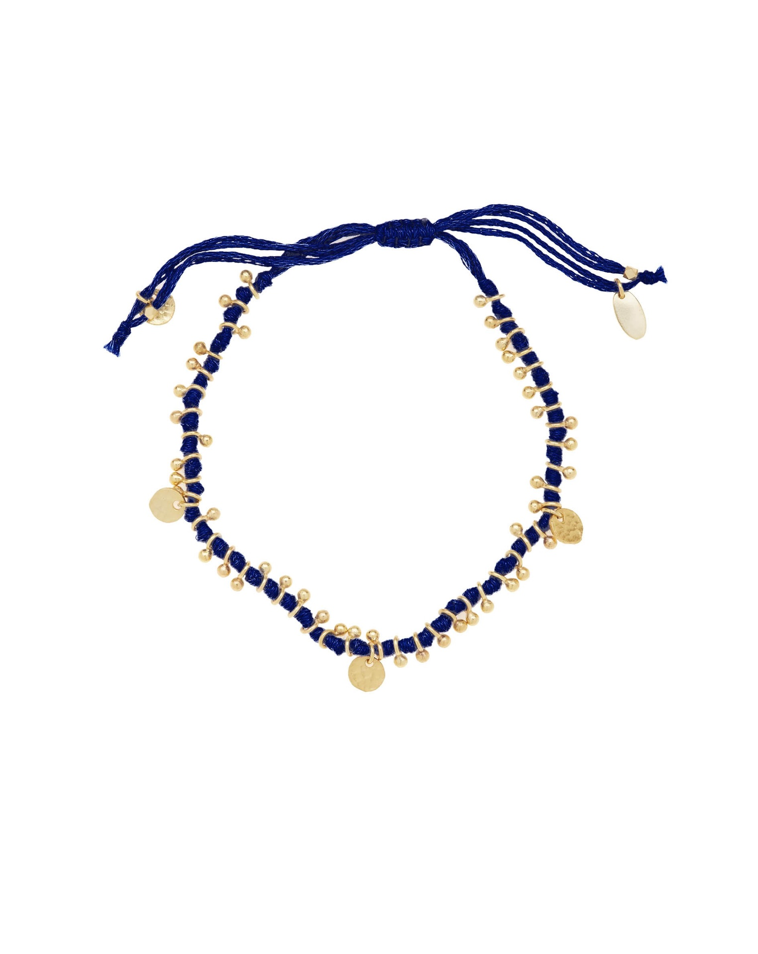 Gold plated adjustable cord bracelet by Ashiana London