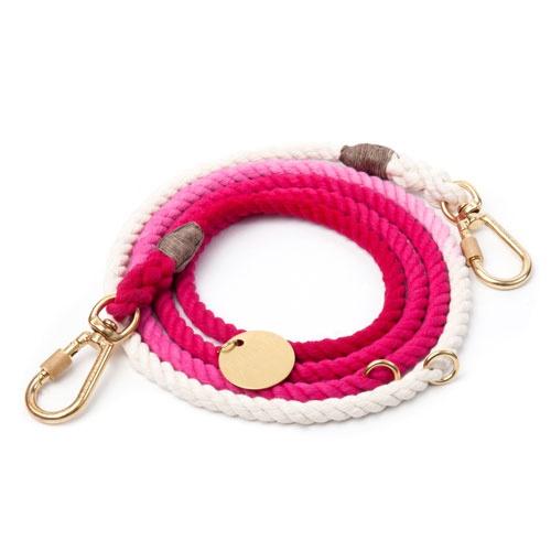 Magenta Ombre Cotton Rope Adjustable Dog Leash | Medium