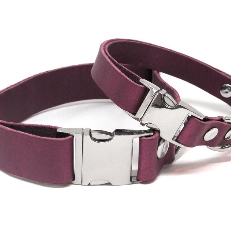 Leather Dog Collars Raspberry