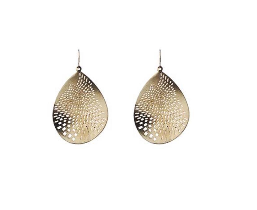 Large Laser cut earrings in gold