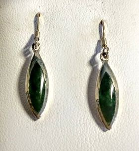 Greenstone & Silver Drop Earrings plain