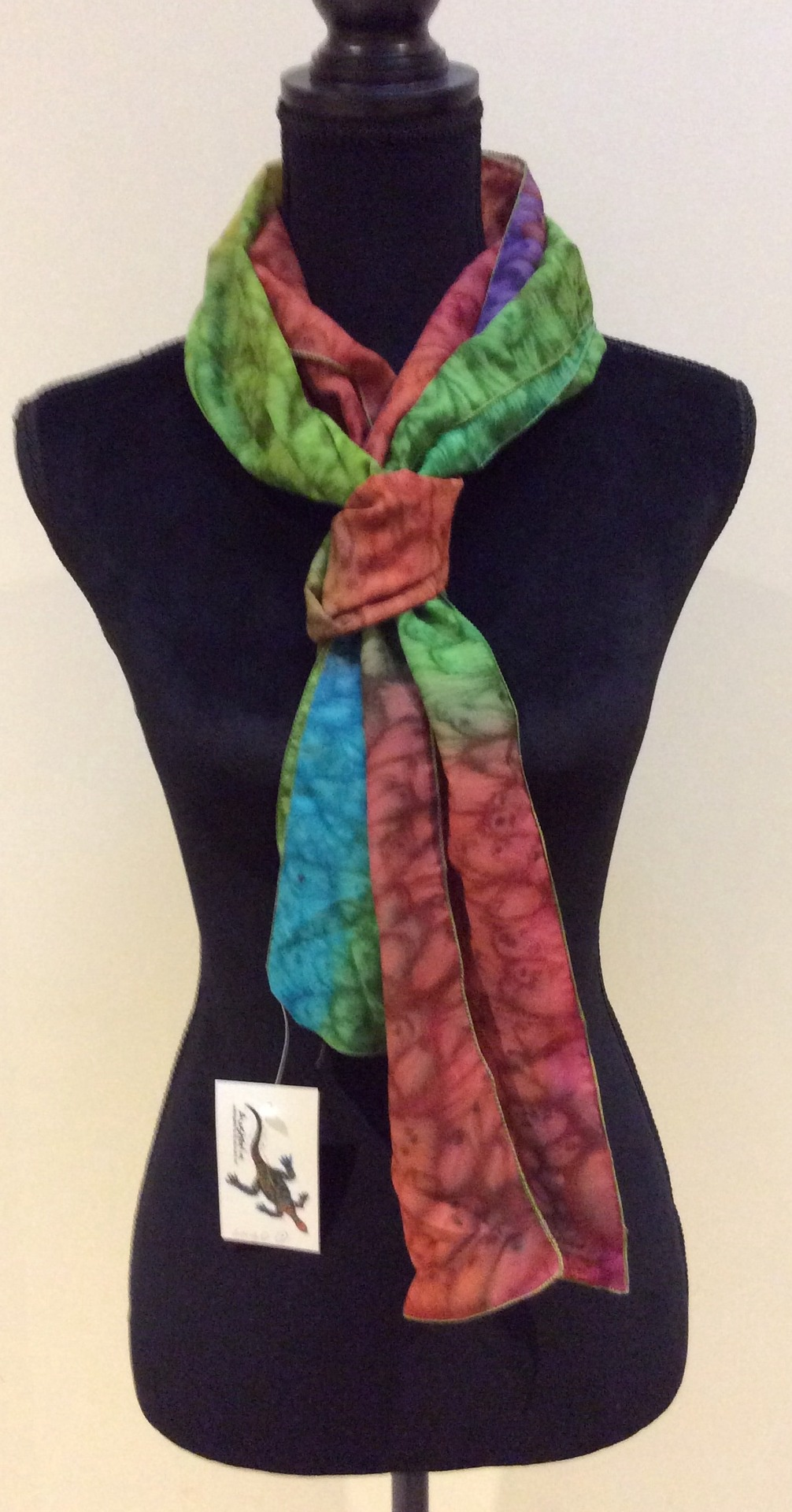 Hand Painted Silk and cotton Multi Coloured Scarf