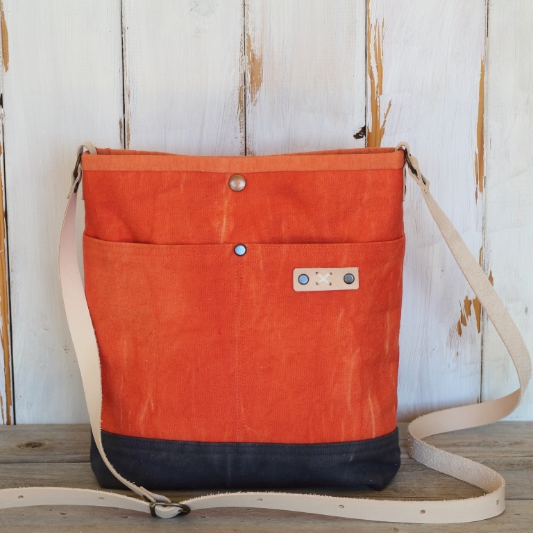 Orange and Grey Canvas Cross Body Bag