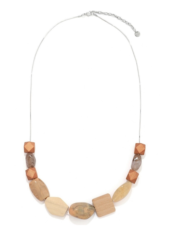 Natural wood and stone necklace