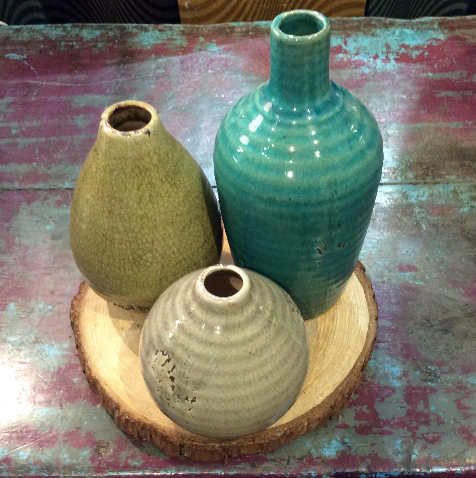 3 Ceramic Vase On Wood