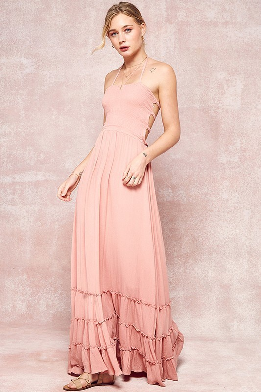 Coral Halter Maxi Dress w Open Back n Ruffles at Bottom