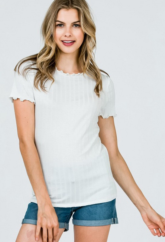 Wht S/S Ribbed Top w Squiggle