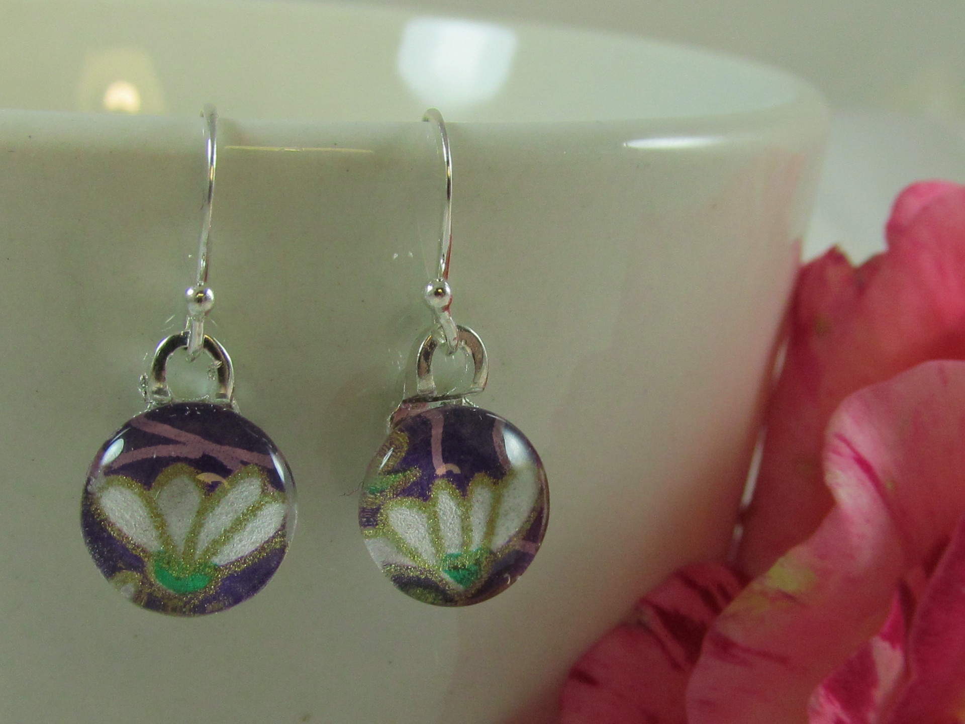 Purple Blossom Chiyogami Earrings